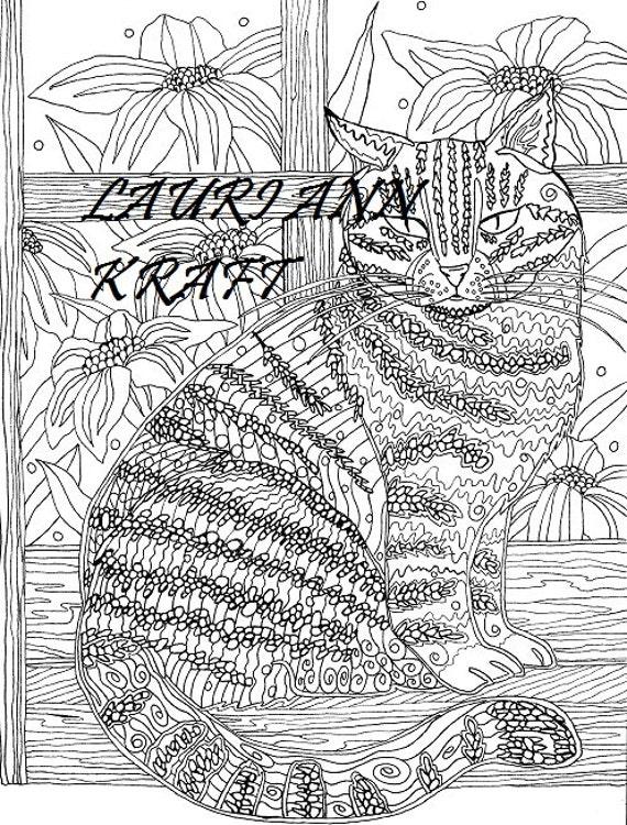 Chat dans la fen tre imprimer colorier pour adulte livre page etsy - Chat a colorier adulte ...