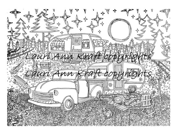 Camping truck camper Country Printable Adult Coloring Book Page Instant  Download Zentangle PDF Kraft Color Meditation