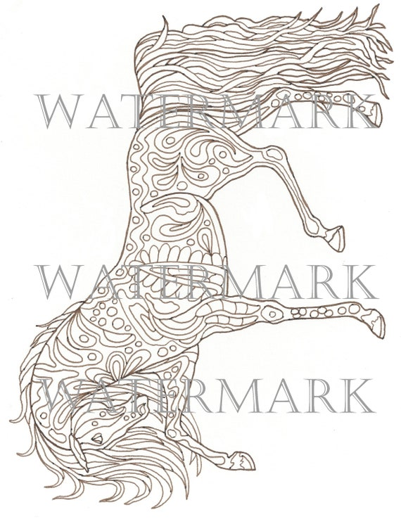 Horse Horse\'s Animal Printable Adult Coloring Book PNG Page Instant  Download Zentangle PDF Kraft Color Meditation