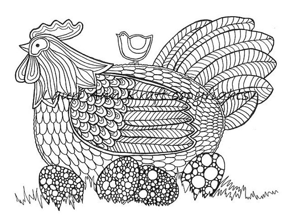 Chicken Eggs Hen Farm Country Printable Adult Coloring Book Page Instant  Download Zentangle PDF Kraft Color Meditation