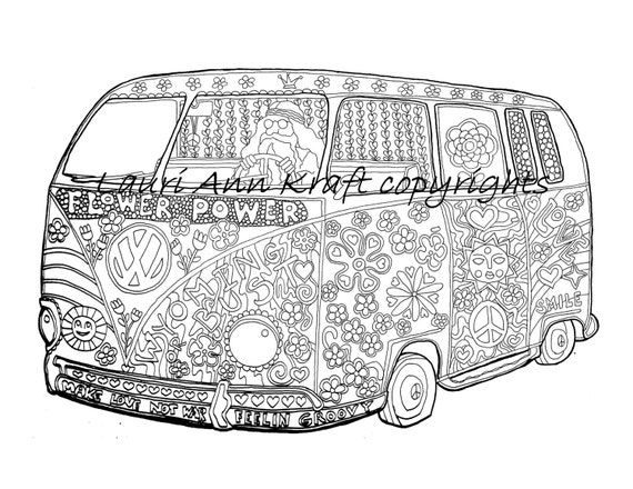 VW Voltswagon bus hippie camping Printable Adult Coloring Book   Etsy