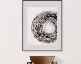 Black and White Wall  Art Abstract Wall Art ORIGINAL Art, Ink Art Lines Wall Art Minimalist Artwork, Zen Circle Wall Art Original Painting
