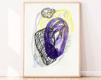 Abstract Painting Original Art Purple wall art on Paper Living room wall art Modern Watercolor painting Watercolour Drawing Yellow 12 x 16""