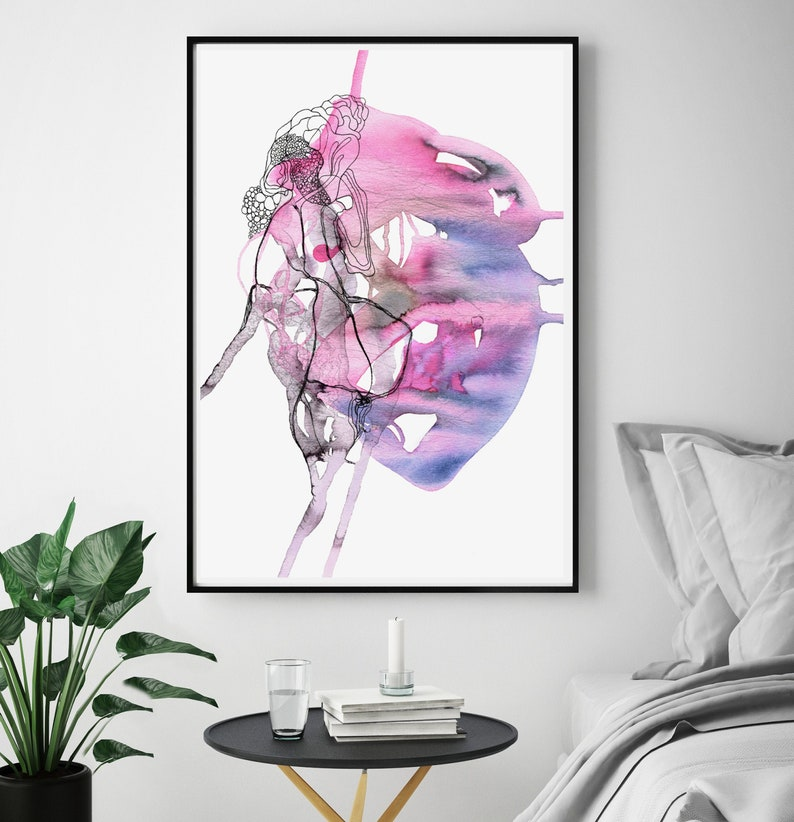 Abstract Human Heart Wall Art Watercolor Anatomy Heart Anatomical Art Print 8x10 12x16 11x14 A3