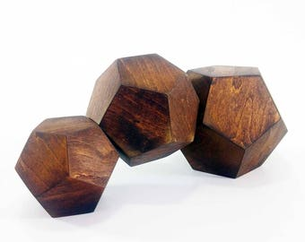 Wooden Dodecahedrons Set  , Golden Ratio Geometry,  Platonic Solid, Sacred Geometry , Dodechahedrons Set , Dodecahedron Art