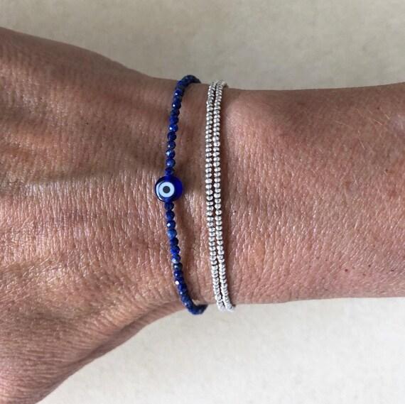 Oeil maléfique Bleu Double Bracelet jonc argent sterling .925