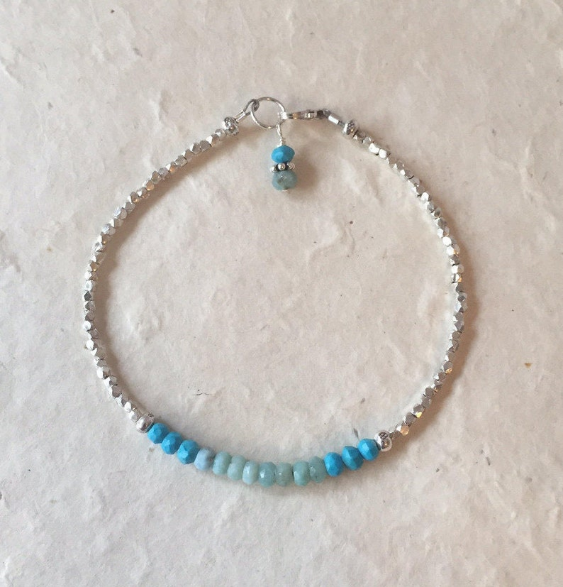 Boho Stack Bracelet Turquoise and Larimar Karen Hill Tribe Thai Silver Beaded Bracelet with Dangle Sundance Style December Birthstone
