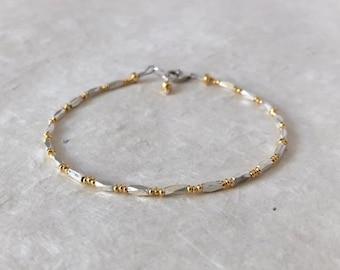 Hill Tribe Thai Silver and Gold Beaded Stacking Bracelet, Sundance Style, Stacking Bracelet, Boho Chic, Dainty Bracelet, Layering Bracelet