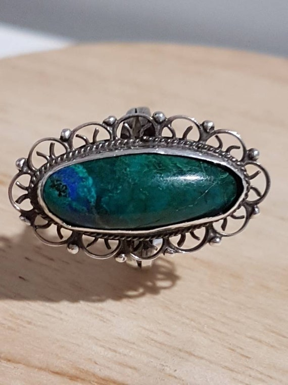 Vintage Malachite Mexican Sterling Silver Ring