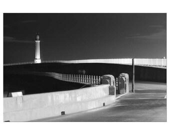 Black and White Photography, Print, Wall Art, Lighthouse, Surreal, Nautical, Sunderland, Noir, Seaburn, Roker