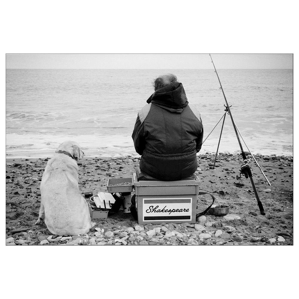 Seaside print black and white photography silver gelatin print beach print dog people fishing street photography 6x4 retro art