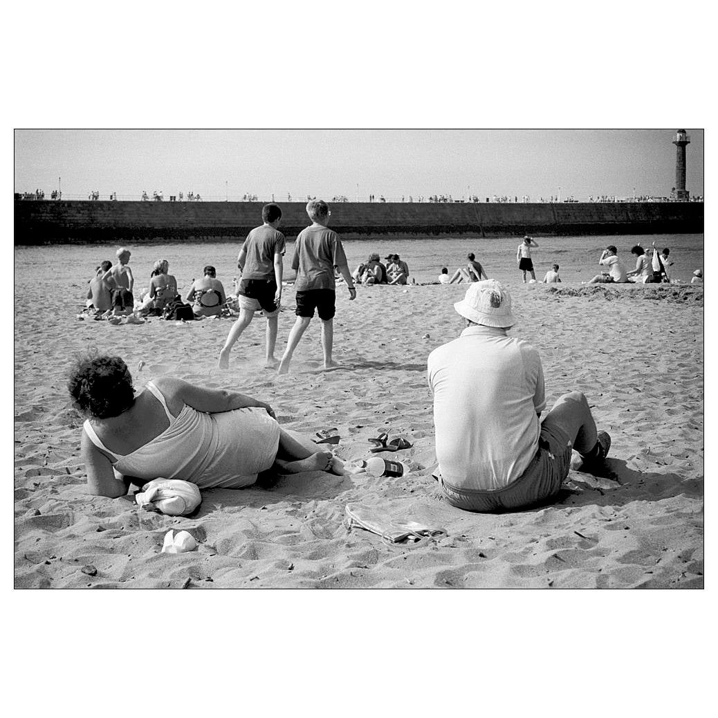 Seaside print black and white photography 6x4 photo beach people street photography whitby retro photo art noir silver gelatin