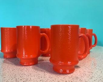 Set of 4 Hazel Atlas 'orange peel' milk glass footed mugs