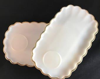 set of 2 vintage milkglass, 22K gold trimmed scallop edged anchor hocking snack plates