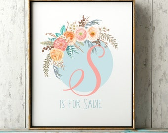 Floral Monogram Letter- Floral Blush Print, Personalized Baby Girl Nursery Print, Floral Boho Name Print, Custom Baby Girl Name Nursery Name