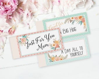 DIY Printable Coupons For Mom - Coupon Book For Mothers - Printable Gift For Mom - Birthday Gift From Kids - Editable PDF