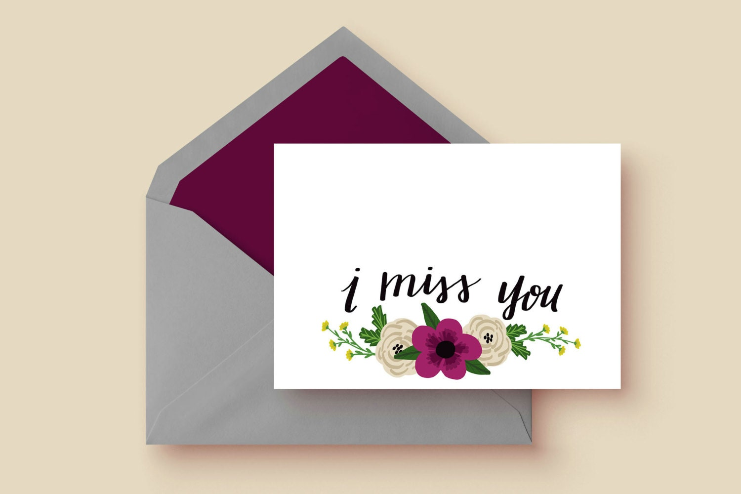 I Miss You Card Single Card Greeting Cards Stationary Etsy
