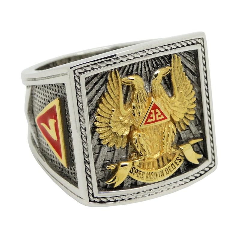 Scottish Rite 32 Degree Wings Up Masonic Knights Templar Silver 18k Gold  Plated Freemasonry Signet Freemason Ring KTR 023