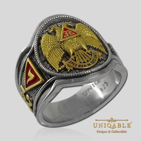 Size 16 925 Sterling Silver Masonic Mens Ring Scottish Rite