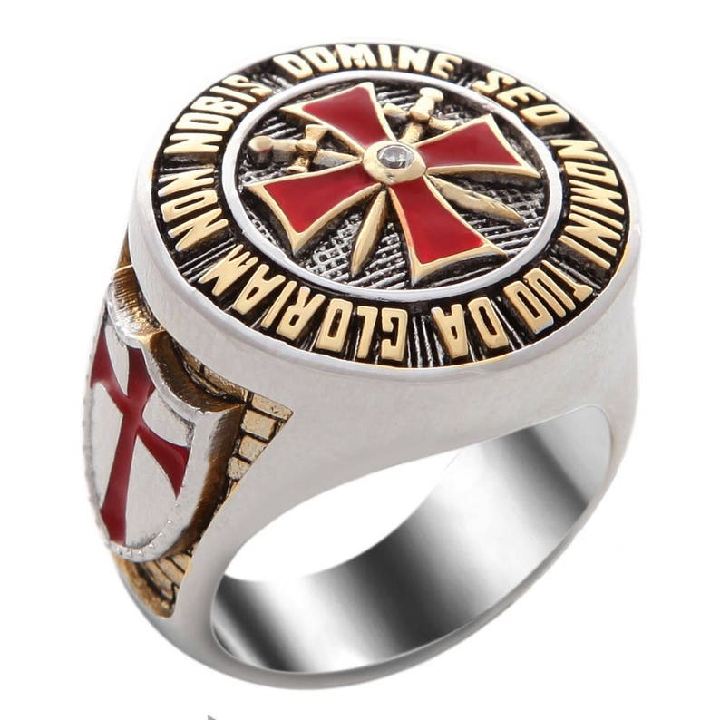 22ce72f20319d Handmade Knight Templar Masonic Ring 18k White and Yellow Gold Plated  Unique Design BR-8