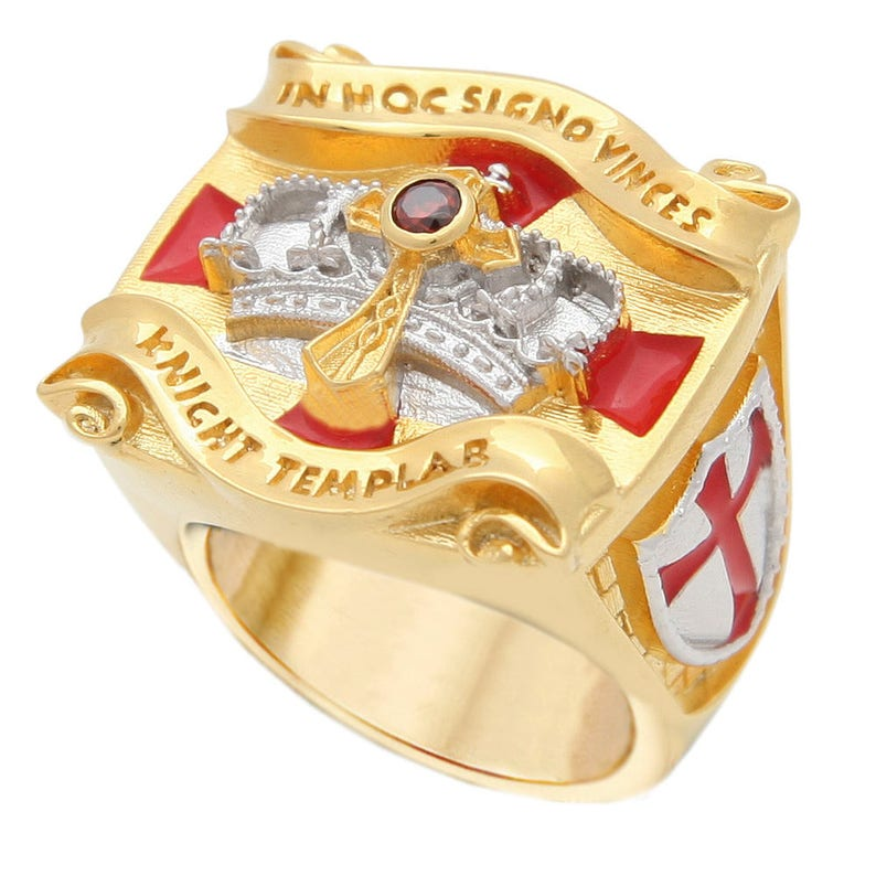 Knight Templar Masonic Ring 18k White and Yellow Gold Pld Cross & Crown 45  Gr Unique Handcrafted Design Man Size BR-1