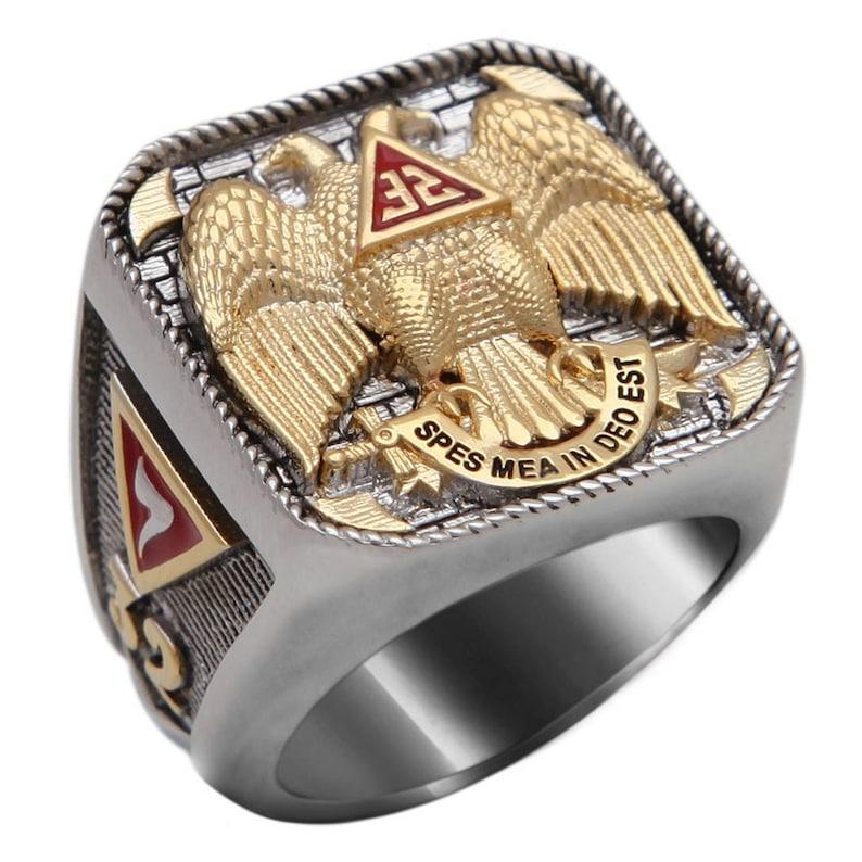 Handmade Scottish Rite 32 Degree Masonic Ring 18K Gold Pld White Version 40  Grams Templar BR-6