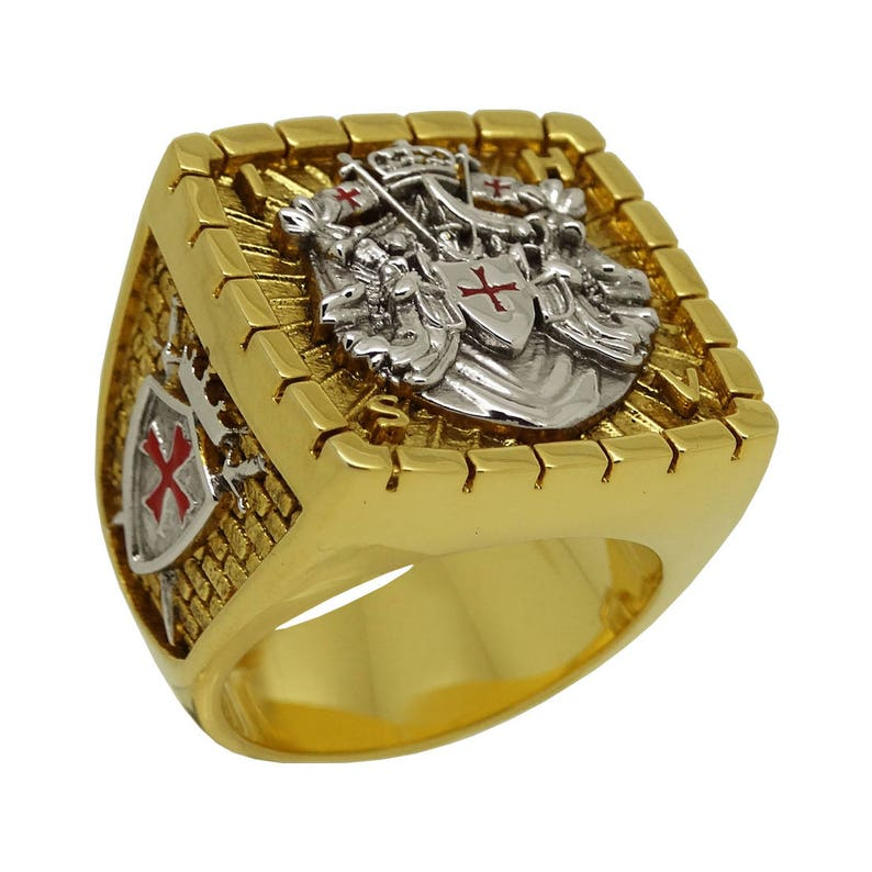 Custom made Knight Templar Masonic Ring 18k White and Yellow Gold Plated 40  Grams Unique Handcrafted Design BR-20