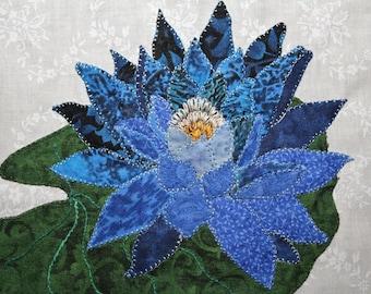 Blue Lotus Appliqué Block