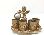 Vintage Estate Gold Tone Faux Pearl Filigree Angel Cherub Lipstick Holder