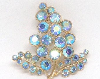 Vintage Estate High End Blue AB Rhinestone Gold Tone Jewelry Brooch