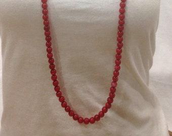 Vintage Estate Deep Red Beaded Stunning Necklace