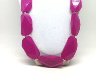 Estate Pink Fuschia  Dangle Gold Tone Gorgeous Necklace