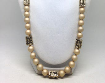 Vintage Estate Tan Beaded Gold Tone Gorgeous Necklace
