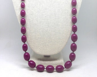 Vintage Estate Purple Beaded Silver Tone Gorgeous Necklace