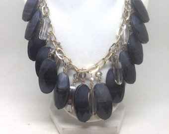 Stunning Estate AB Black Dangle Statement Gold Tone Necklace