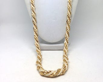 Vintage State White Gold Tone Braided Gorgeous Necklace