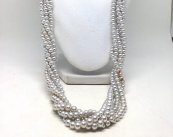 Vintage Estate Twisted Beaded Silver Tone Gorgeous Necklace