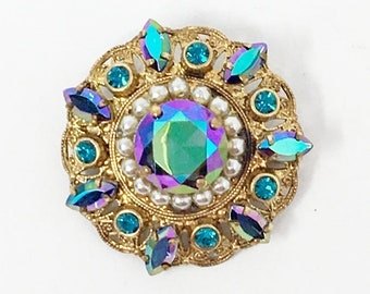 so sweet West Germany blue gold earrings very sleek brooch