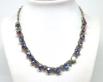 Vintage Estate AB Rhinestone Triangle Silver Tone Gorgeous Necklace