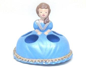 Vintage Estate Handmade Figural Lady Girl in Blue Dress Lipstick Holder