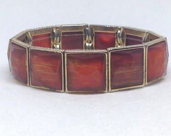 Estate Square Designed Cab Gold Tone Gorgeous Bracelet