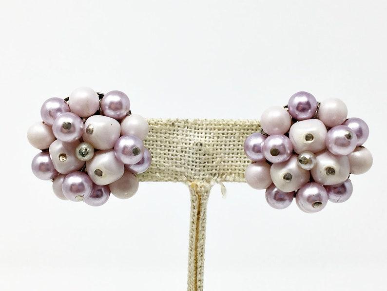 Vintage Japan Lavender Beaded Gradated Necklace Earrings Set