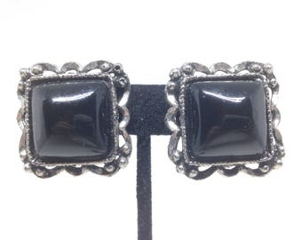 Vintage Estate Black Flower Silver Tone Gorgeous  Clip Earrings