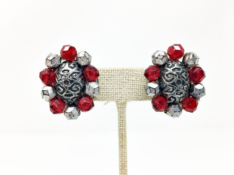 Vintage Signed W Germany Ruby Beads Silver Tone Earrings