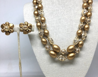 Vintage Estate Gold Beaded Gold Tone Gorgeous Necklace and Earrings Set