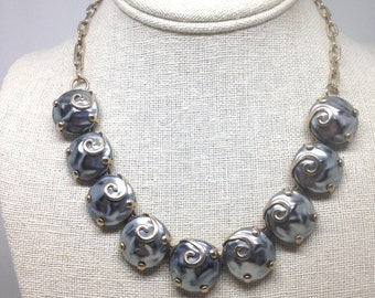 Vintage Estate Thermoset Textured Silver Tone Gorgeous Necklace