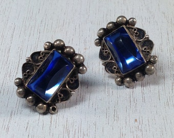Luxurious Signed Sterling Silver 925 Blue Cab Vintage Estate Screw Back Earrings