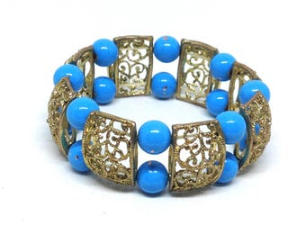 Estate Blue Beaded Gold Tone Gorgeous Stretch Bracelet