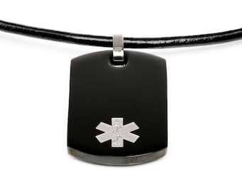 Medical id necklace etsy medical id necklace black id dogtag with leather bracelet medical necklace alert necklace emergency necklace aloadofball Images
