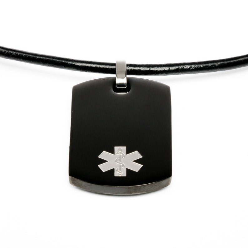 ID Dogtag with leather bracelet emergency necklace Medical ID necklace black medical necklace alert necklace